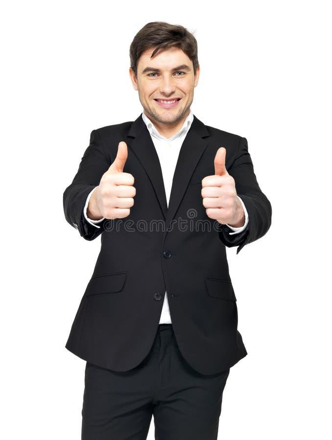 愉快的生意人显示赞许 免版税图库摄影