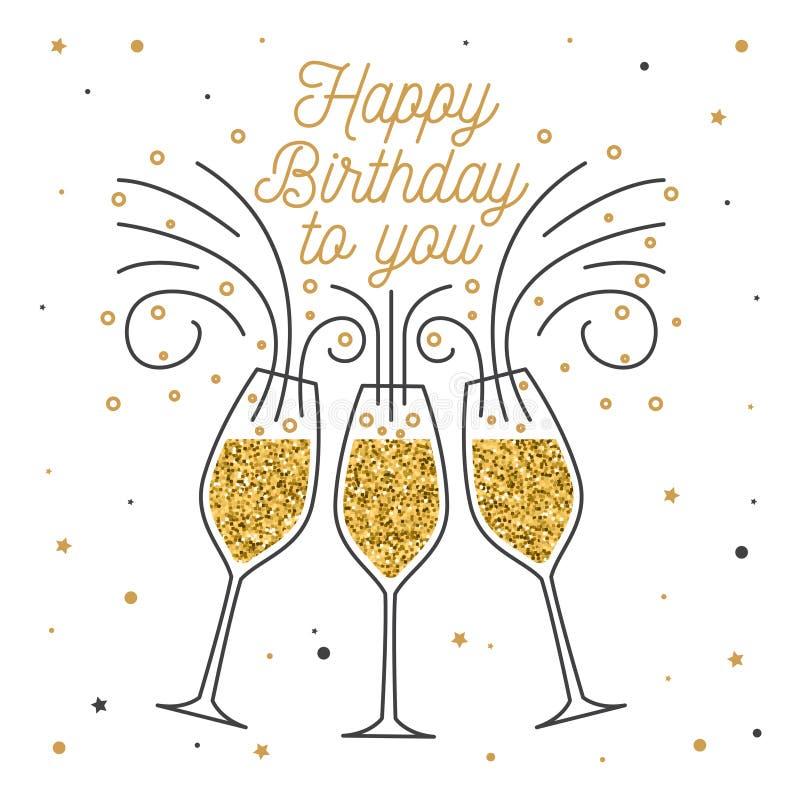 愉快的生日对您 邮票,徽章,贴纸,与香宾玻璃的卡片 向量 葡萄酒印刷设计为 皇族释放例证
