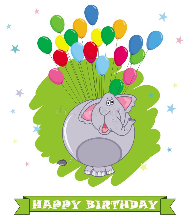 愉快的生日贺卡 动画片大象滑稽的例证印地安人 五颜六色的气球backgro 向量例证