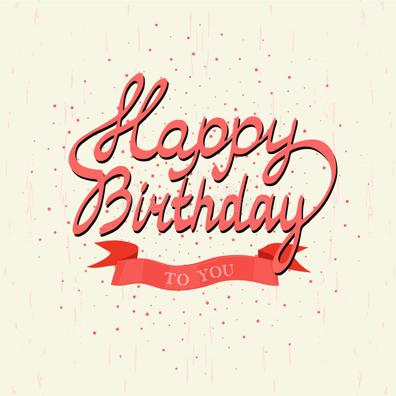 愉快的生日 背景看板卡prelambulator镶边向量 手字法签署五彩纸屑和红色丝带横幅 向量例证