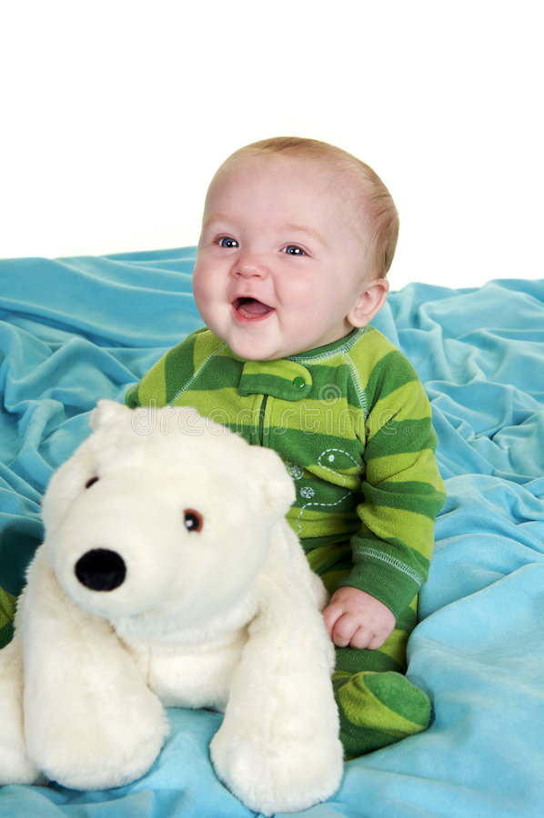 愉快的男婴 库存照片