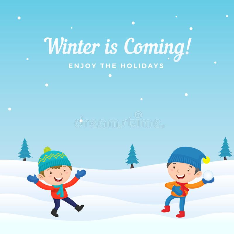 愉快的男孩孩子喜欢演奏在冬天季节背景传染媒介例证的打雪仗 假日贺卡,横幅,海报 库存例证