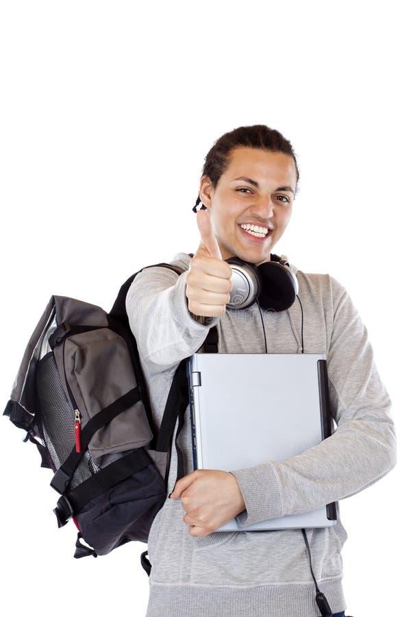 愉快的男显示学员赞许年轻人 库存图片