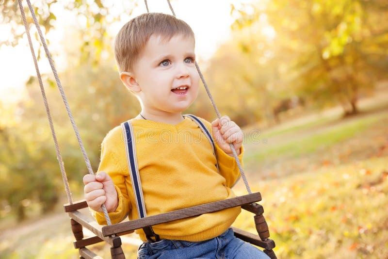 愉快的男婴获得在摇摆乘驾的乐趣在一个庭院每秋天天 库存图片