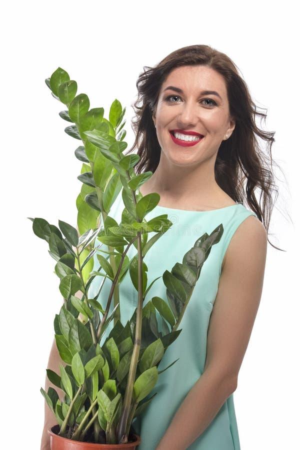 愉快的白种人深色的妇女画象有Zamioculcas厂树的 免版税库存图片
