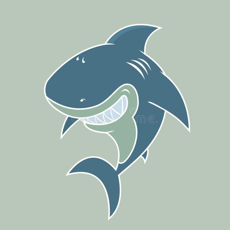 愉快的看起来的大白鲨鱼 向量例证