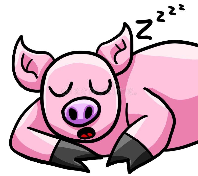 愉快的睡觉猪 库存例证