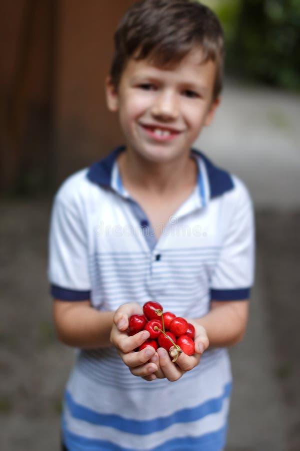 愉快的矮小的白种人男孩在手上的拿着樱桃 库存图片