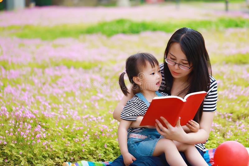 愉快的矮小的逗人喜爱的女婴微笑和读的书与母亲,妈妈讲故事给他的女儿夏天公园愉快的家庭的 库存照片