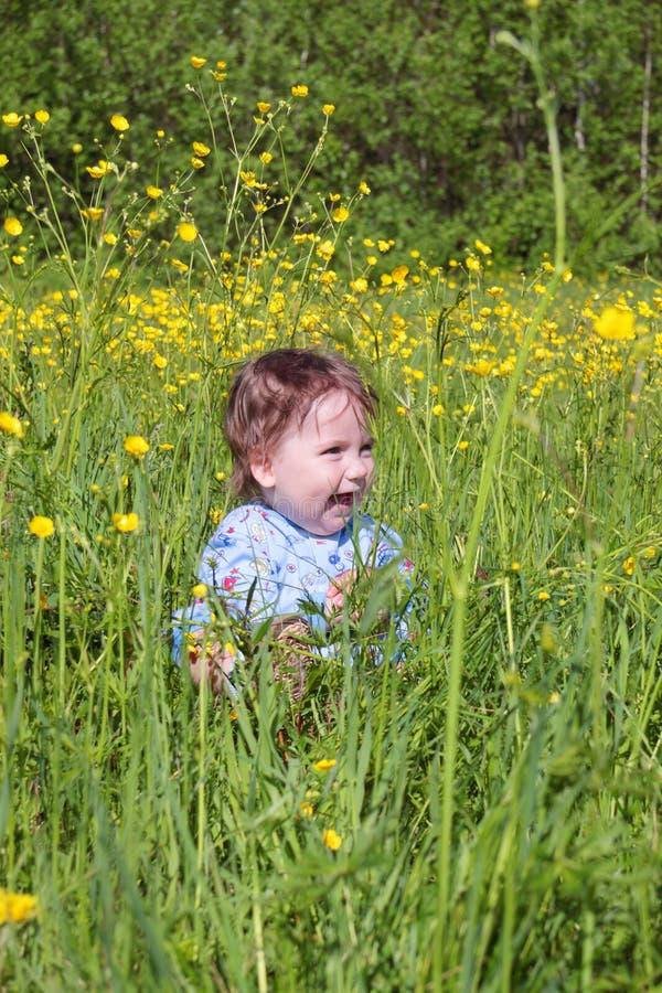 愉快的矮小的逗人喜爱的婴孩在坐绿草中 库存照片
