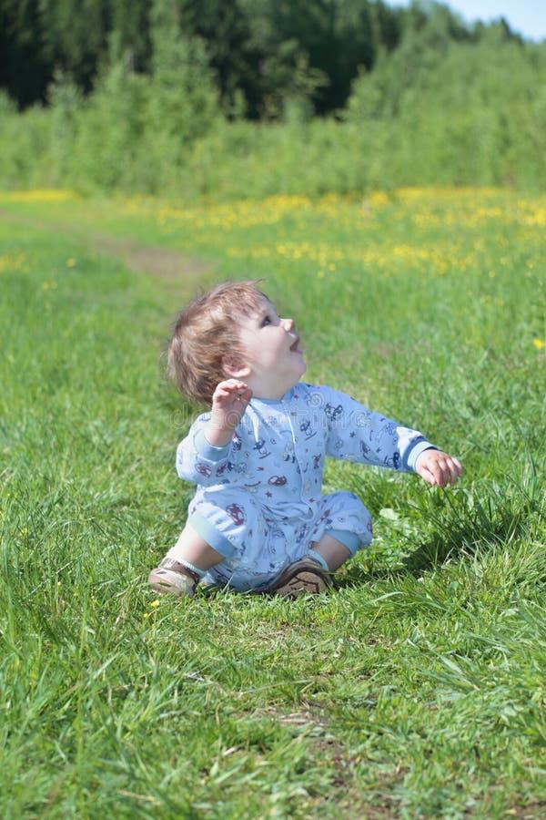 愉快的矮小的逗人喜爱的婴孩坐绿草在森林附近 免版税库存照片