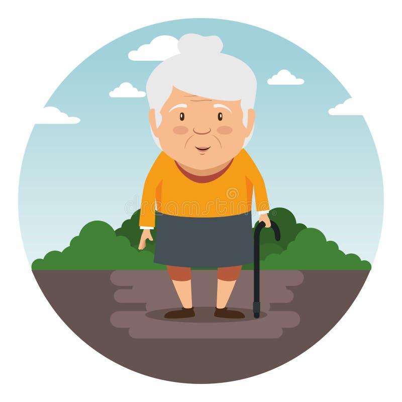 愉快的祖母动画片 向量例证