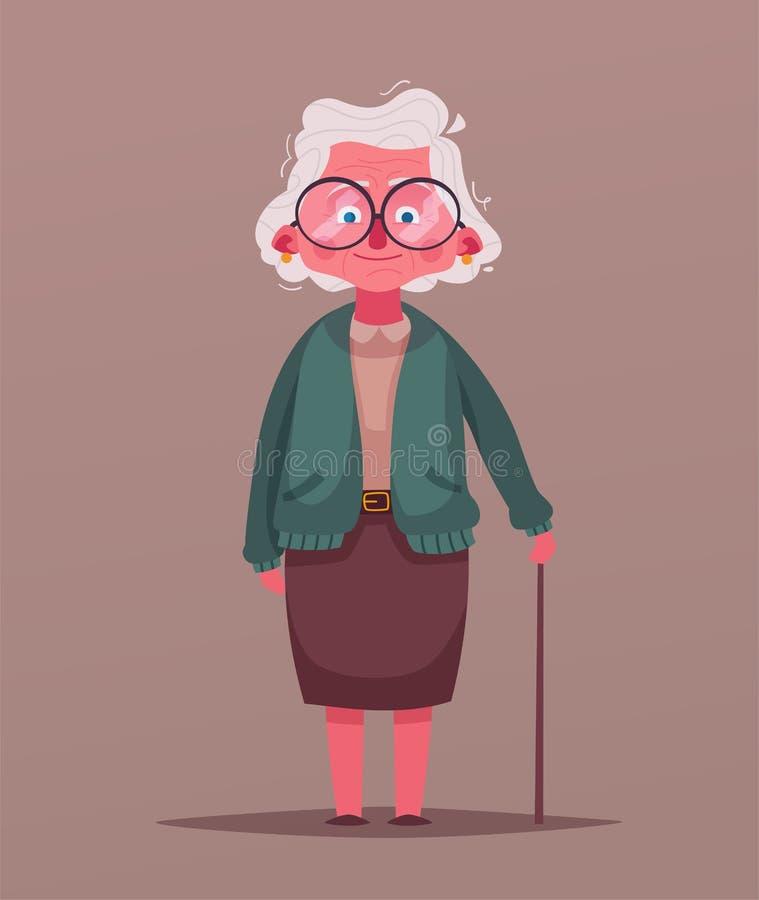 愉快的祖母 男孩动画片不满意的例证少许向量 祖父母天 向量例证