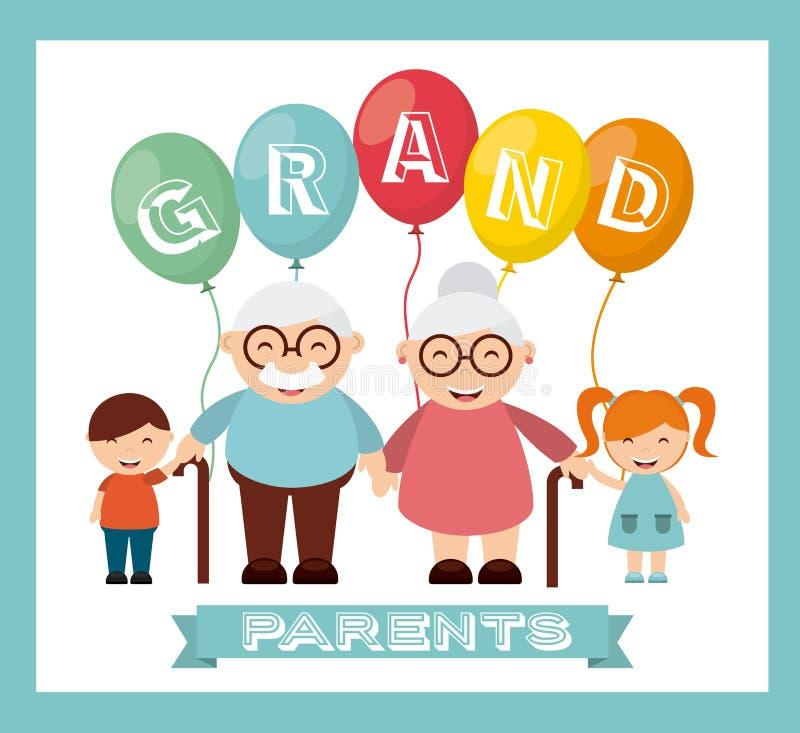 愉快的祖父母天 向量例证