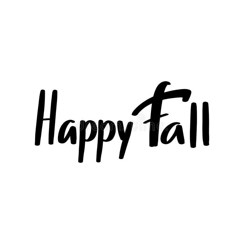 愉快的秋天设计的,季节性电视节目预告,海报,横幅,商标,象,贺卡,邀请秋天手拉的字法 向量例证