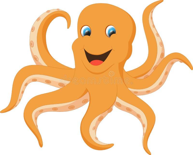 愉快的章鱼动画片 皇族释放例证