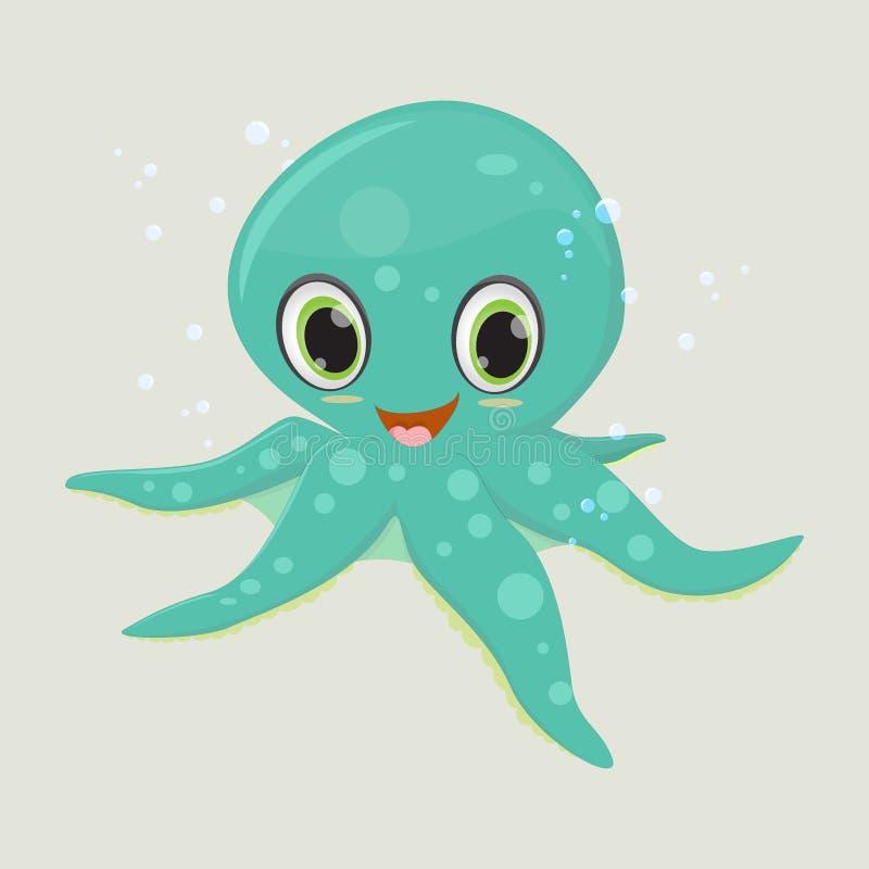 愉快的章鱼动画片 向量例证