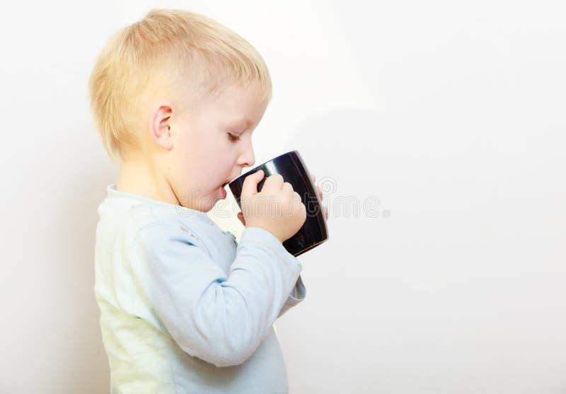 愉快的童年。小男孩孩子儿童饮用的茶 库存照片