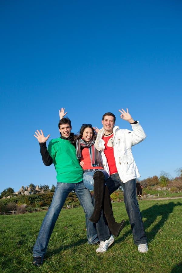 愉快的笑小组年轻人 库存图片