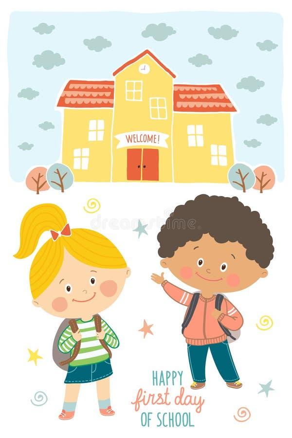 愉快的第一天学校卡片设计 去的孩子学校 微笑的男孩和女孩校服的有背包的 皇族释放例证