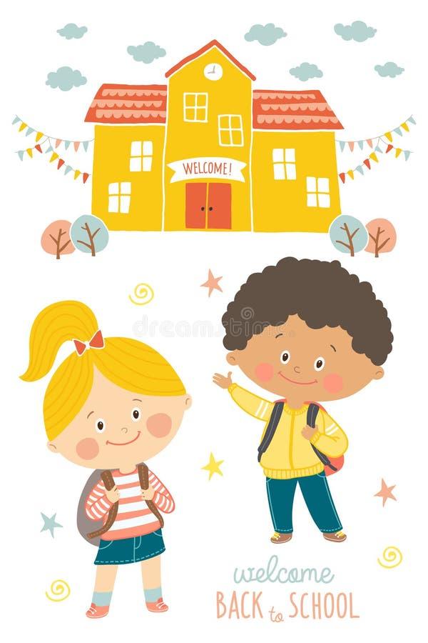 愉快的第一天学校卡片设计 去的孩子学校 微笑的男孩和女孩校服的有背包的 库存例证
