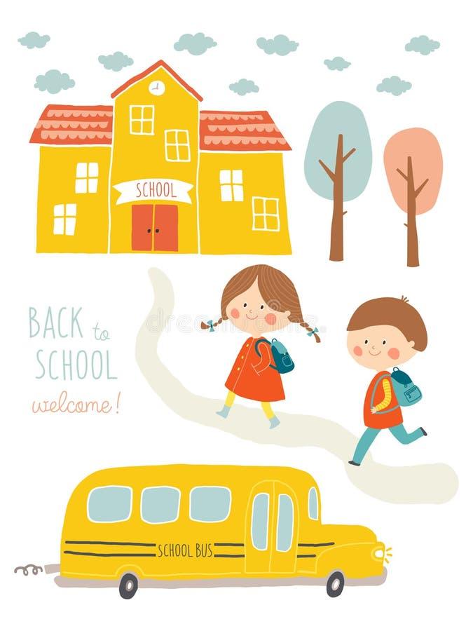 愉快的第一天学校卡片设计 去的孩子学校 逗人喜爱的男孩和女孩有教学楼和校车的 向量例证
