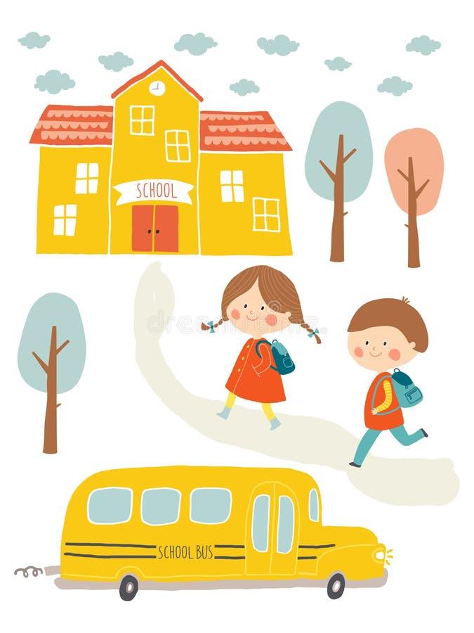 愉快的第一天学校卡片设计 去的孩子学校 逗人喜爱的男孩和女孩有教学楼和校车的 皇族释放例证