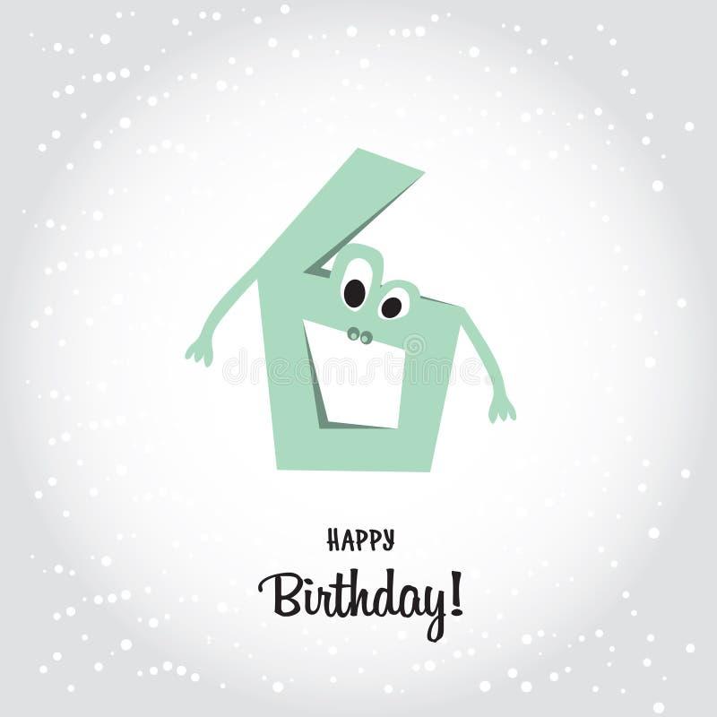 愉快的第六张生日明信片 蓝色第六和愉快的Birthda 库存例证