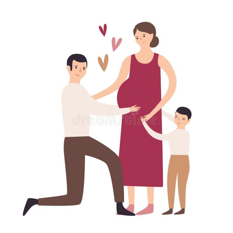 愉快的系列 拥抱怀孕的母亲,在膝盖的父亲身分和接触她的腹部的儿子 例证母性怀孕集合符号 皇族释放例证