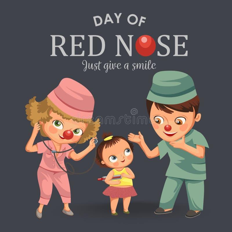 愉快的红色鼻子天,母亲给医院、妈妈乐趣clownnose和女婴患者的医生带来了她的女儿 库存例证