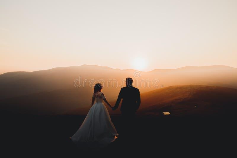 愉快的美丽的婚礼夫妇新娘和新郎在户外婚礼之日在山晃动 美满的婚姻夫妇 图库摄影