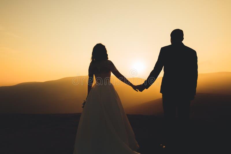 愉快的美丽的婚礼夫妇新娘和新郎在户外婚礼之日在山晃动 美满的婚姻夫妇 免版税库存图片