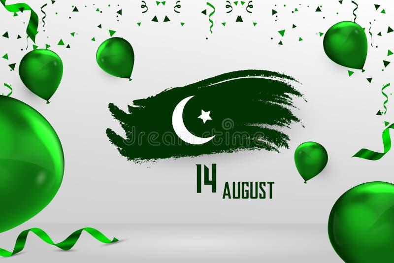 愉快的美国独立日巴基斯坦, 8月14日巴基斯坦人美国独立日 向量例证