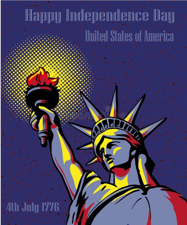 愉快的美国独立日7月4日 美国假日概念海报 在减速火箭的流行艺术样式的传染媒介例证 库存例证
