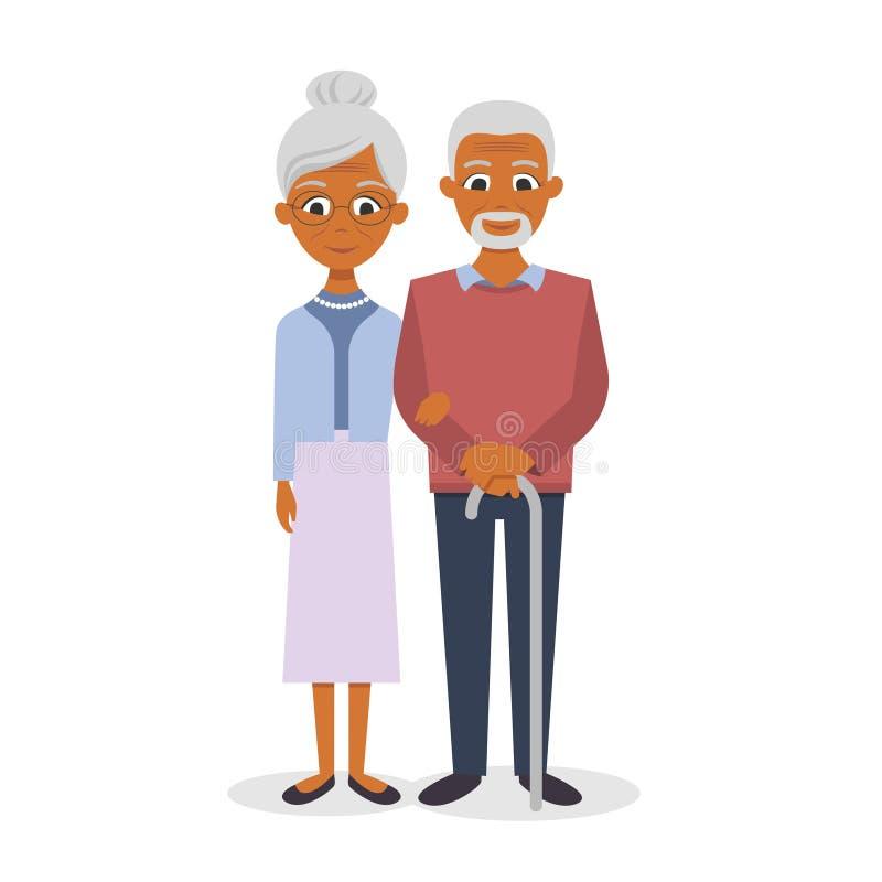 愉快的美国黑人微笑的资深夫妇的例证 库存例证