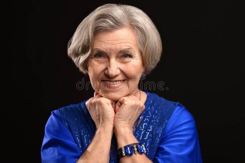 愉快的老妇人 免版税库存照片