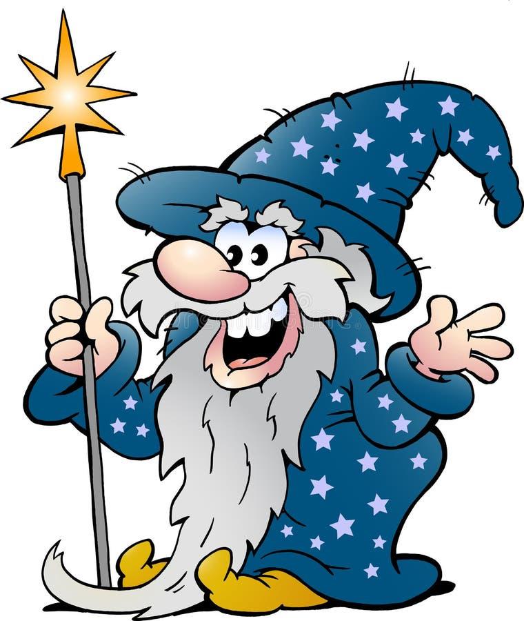 愉快的老巫术师魔术人 皇族释放例证
