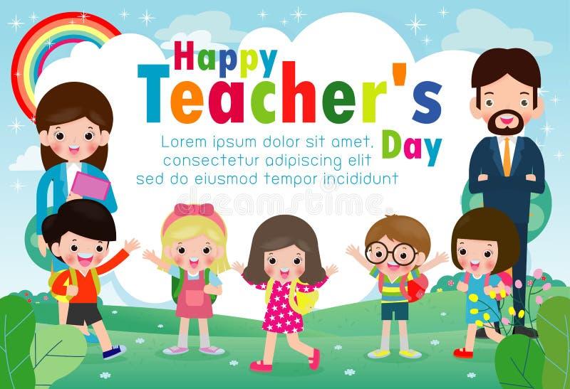 愉快的老师的天海报概念,世界老师天平的传染媒介庆祝国际性组织的横幅模板、老师和学生 皇族释放例证