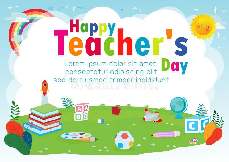 愉快的老师的天海报概念,世界老师天平的传染媒介横幅模板,贺卡,明信片,海报设计版面 皇族释放例证