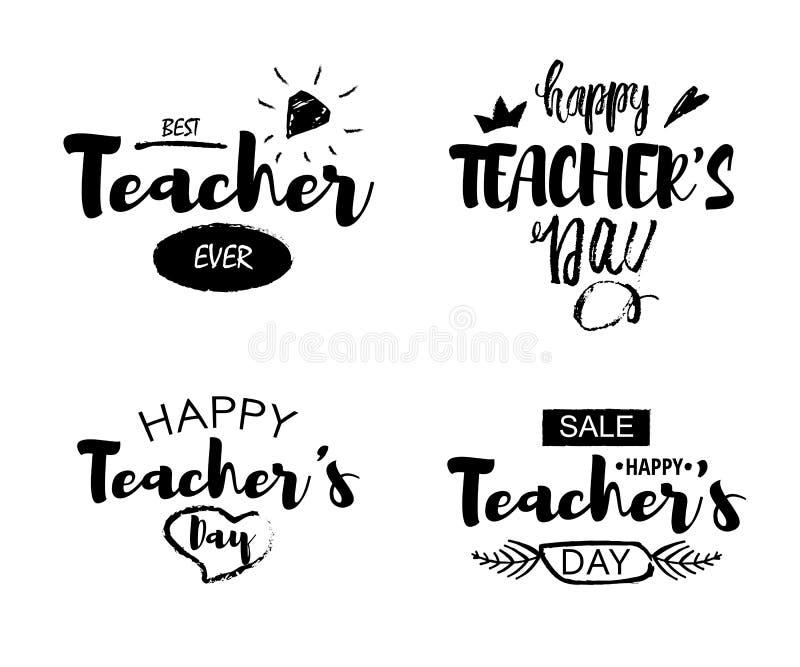 愉快的老师` s天问候字法在白色背景引述 打印的文本在印刷店 向量例证