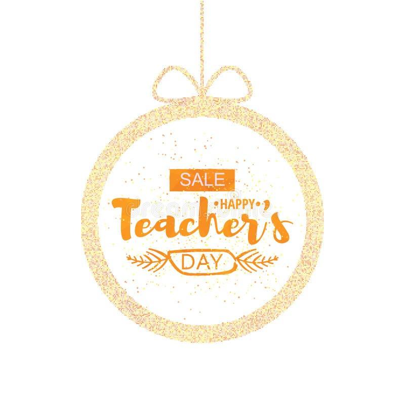 愉快的老师` s天贺卡 与折扣的公告的框架为天老师 向量 库存例证