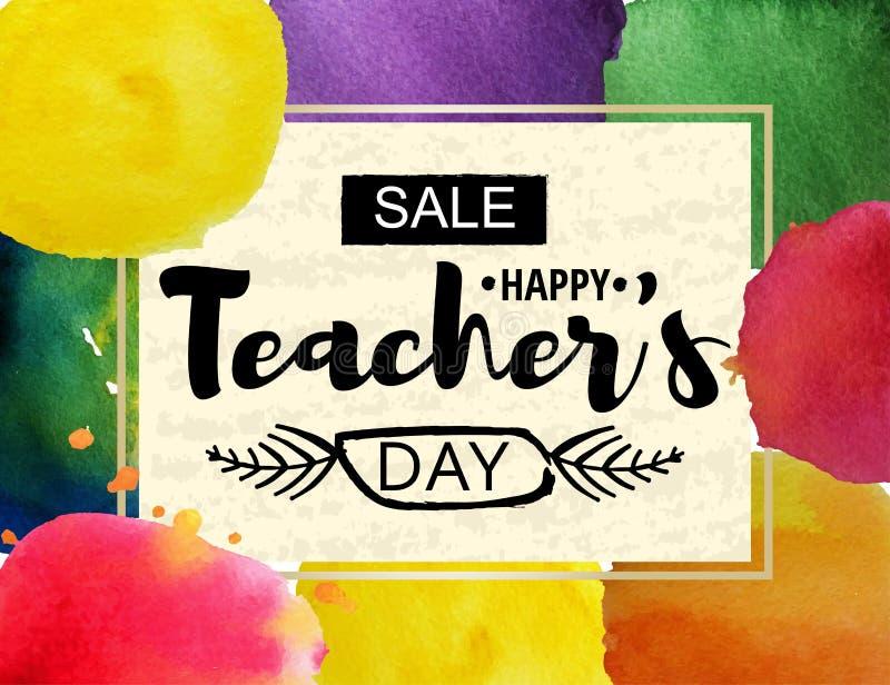 愉快的老师` s天贺卡 与折扣的公告的框架为天老师 水彩斑点 皇族释放例证