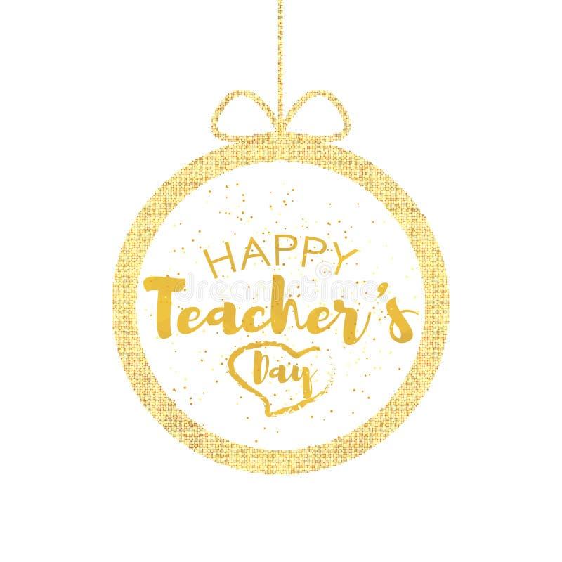 愉快的老师` s天贺卡 与祝贺的框架天老师 与弓的球 向量 库存例证