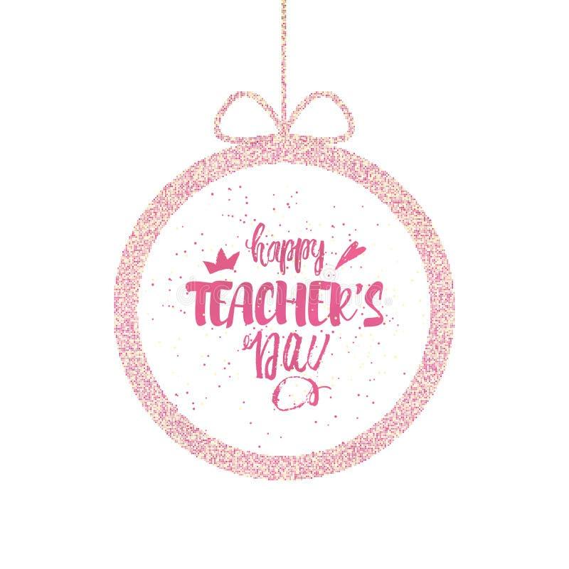 愉快的老师` s天贺卡 与祝贺的精采框架天老师 向量 皇族释放例证