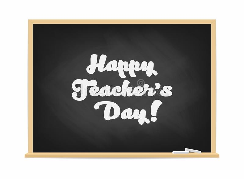 愉快的老师` s天 有字法的黑板 海报,横幅概念 向量例证