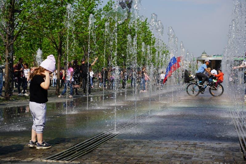 愉快的胜利天在莫斯科 免版税库存图片