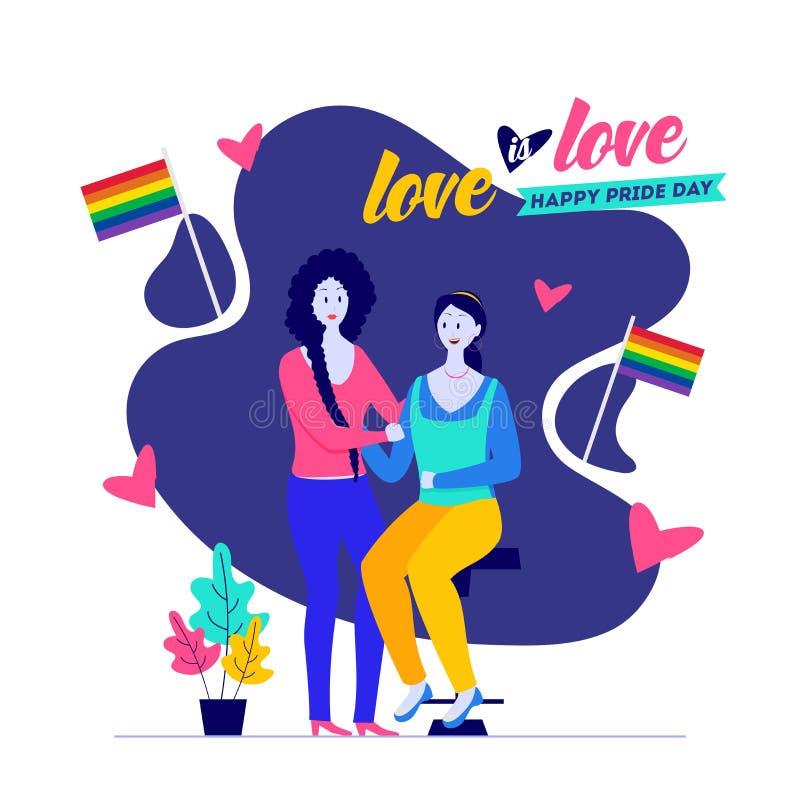 愉快的自豪感天,爱是与女同性恋的夫妇的爱概念 皇族释放例证