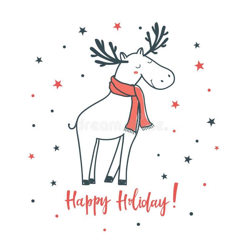 愉快的节假日 动画片与圣诞节鹿的传染媒介例证 皇族释放例证