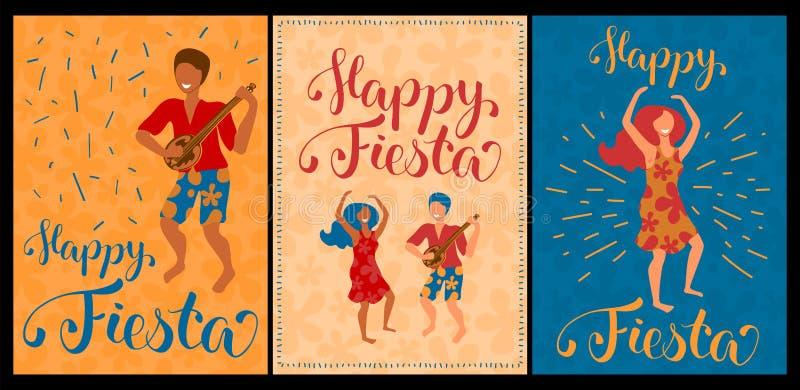 愉快的节日套与跳舞夫妇和字法的传染媒介卡片 拉提纳舞蹈海报汇集 库存例证