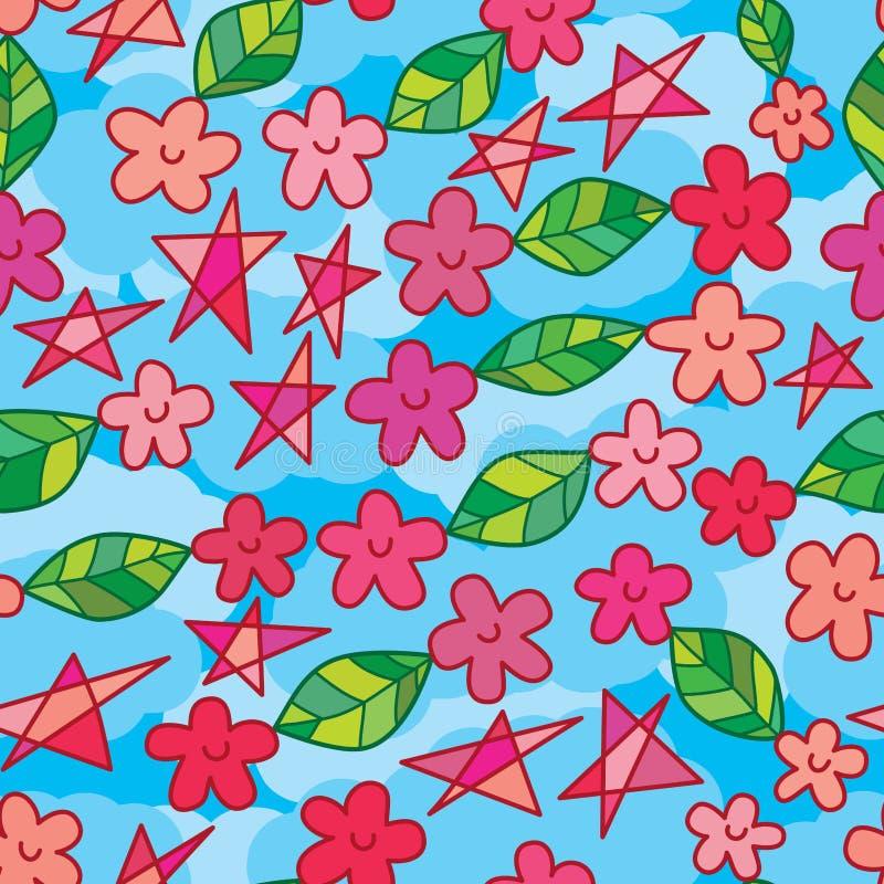 愉快的花带来叶子飞行无缝的样式 向量例证